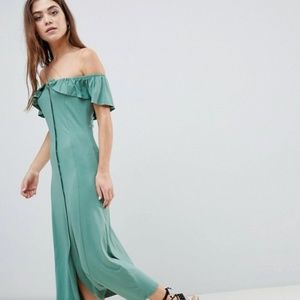 Odd Shoulder Button Through Midi Sundress